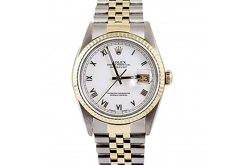 Rolex Datejust White Roman Dial 36mm Steel & Yellow Gold