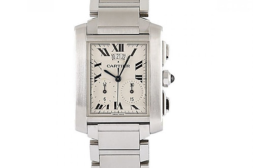 Cartier Tank Francaise Chronograph White Dial 28mm x 32mm Steel