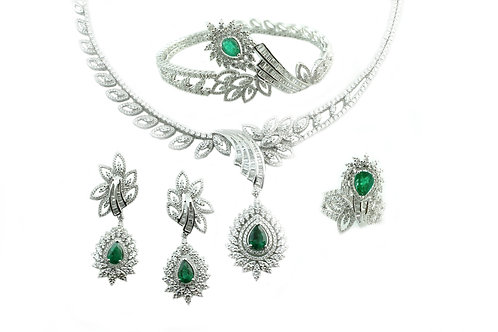 Pear Cut Emerald and Diamond Designer Set