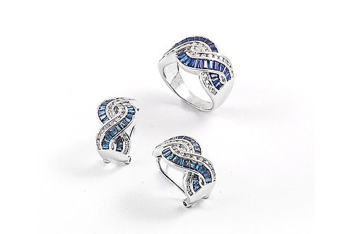 Designer Baguette Cut and Diamond Ring with Earring