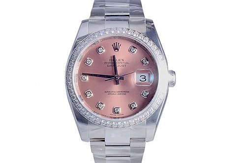Rolex Datejust Salmon Diamond Dial 36mm Steel & Diamonds