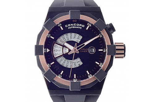 Concord C1 WorldTimer Black Dial 47mm PVD Steel & Rose Gold