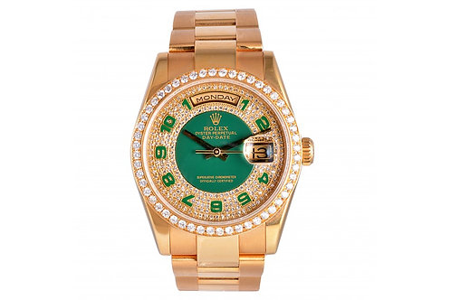 Rolex Day-Date Champagne-Green With Diamond Dial 36mm Yellow Gold & Diamonds