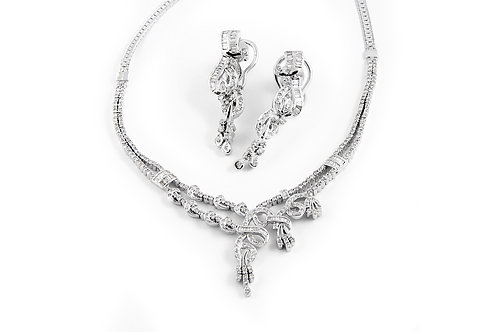 Twisted Baguette and Round Diamond Necklace and Earring