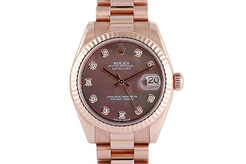 Rolex Datejust President Black Mother of Pearl Diamond Dial 31mm Rose Gold