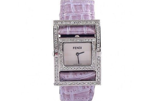 Fendi Ladies Watch with Leather Strap and After Market Diamonds