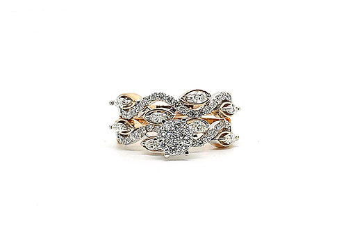Wave Designed Cluster Diamond and Rose Gold Twin Ring