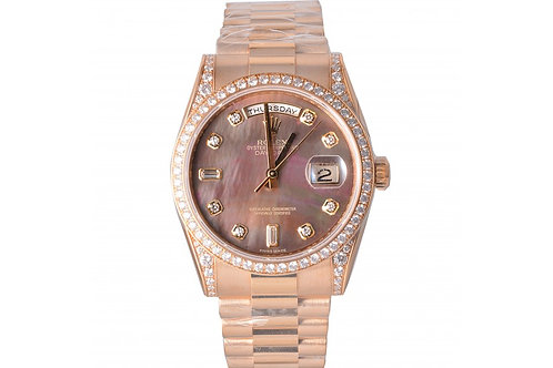 Rolex President Day-Date Black Mother of Pearl With Diamond Dial 36mm Yellow Gol