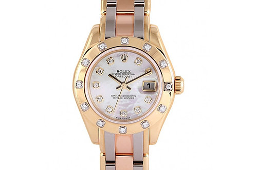 Rolex Tridor Pearlmaster Mother of Pearl Diamond Dial 29mm Gold & Diamonds