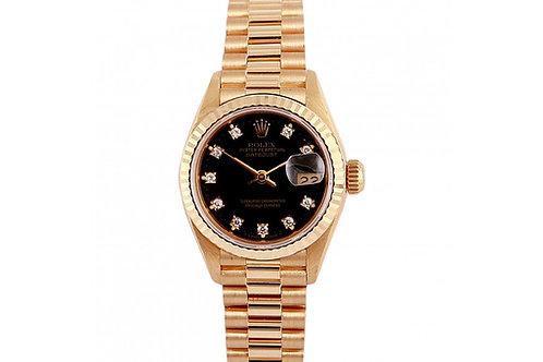 Rolex Datejust Black Diamond Dial 26mm Yellow Gold