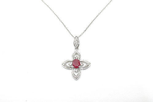 Flower Design with Ruby and Diamond Pendant