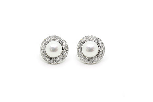 Gold with Diamonds and South Sea Pearl Earrings