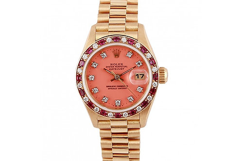 Rolex Datejust Pink Diamond dial 26mm Yellow Gold, Diamonds and Ruby