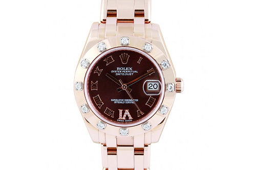 Rolex Pearlmaster Datejust Chocolate Dial 34mm Rose Gold & Diamonds