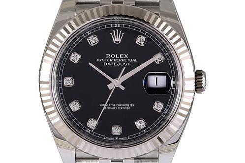 Rolex Datejust 2 Black Diamond Dial Jubilee Bracelet 41mm Steel