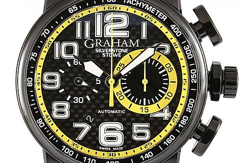 Graham Silverstone Stowe Racing Chronograph Black Dial 48mm PVD Steel