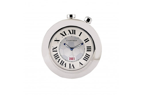 Cartier Pasha Travel Clock White Roman Dial 50mm Steel