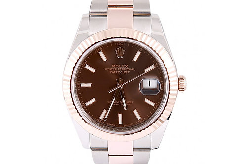 Rolex Datejust Chocolate Dial 41mm Steel & Rose Gold