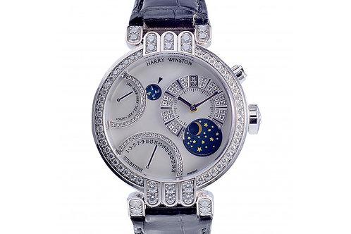 Harry Winston Bi-Retro Perpetual Calendar Silver Dial 41mm White Gold & Diamonds