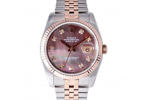 Rolex Datejust Black Mother of Pearl With Diamond Dial 36mm Steel & Rose Gold