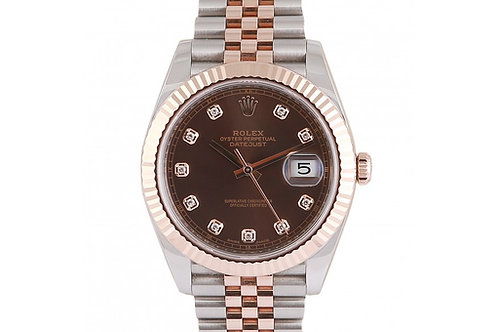 Rolex Datejust 41 Chocolate Diamond Dial Steel & Rose Gold