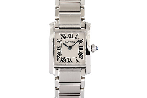 Cartier Tank Française Steel with White Roman Numeral Dial Ladies