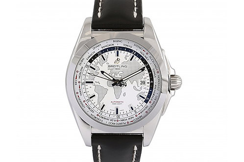 Breitling Galactic Silver Unitime World Map 44mm Steel