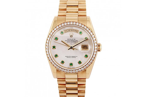 Rolex Day-Date Mother of Pearl Diamond Emerald Dial 36mm Yellow Gold