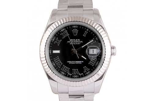 Rolex Datejust II Black Roman Dial 41mm Steel & White Gold