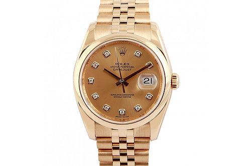 Rolex Datejust Champagne Diamond dial 36mm Yellow Gold