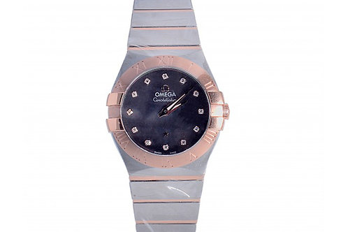Omega Constellation Black Mother of Pearl Diamond Dial 27mm Steel & Rose Gold