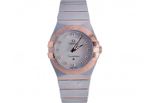 Omega Constellation White Mother of Pearl Diamond Dial 27mm Steel & Rose Gold