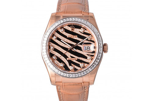 Rolex Datejust Black-Champagne Dial With Diamonds 36mm Rose Gold & Diamonds