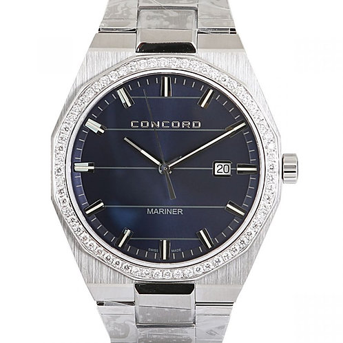 Concord Mariner Blue Dial with Aftermarket Diamond Bezel 41mm Steel