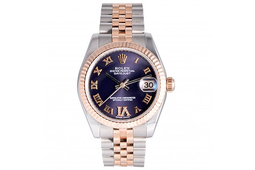Rolex Datejust Diamond With Purple Roman Dial 31mm Steel & Rose Gold