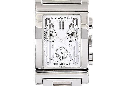 Bvlgari Rettangolo Chronograph White Dial Steel