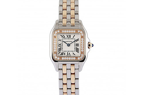 Cartier Panthere Silver Dial 22 mm x 30 mm Rose Gold & Steel