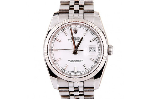 Rolex Datejust White Dial 36mm Steel & White Gold