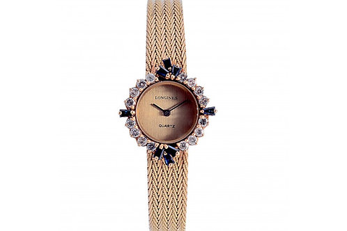 Longines Vintage Champagne Dial 26mm Yellow Gold, Diamonds & Sapphire