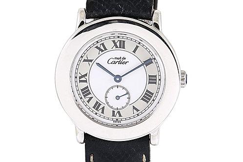 Cartier Must De Cartier Ronde 33mm Black Leather Strap Steel Case 33mm