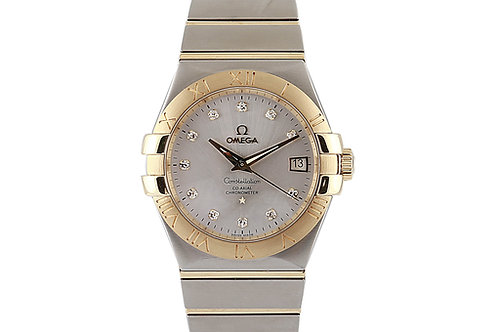Omega Constellation Silver Diamond Dial 35mm Steel & Yellow Gold