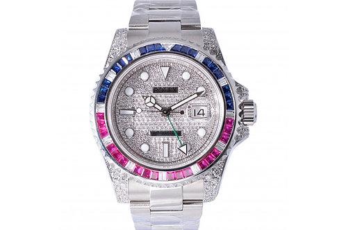 Rolex GMT-Master II Blue-Red Diamond Dial 40mm Steel & Diamonds