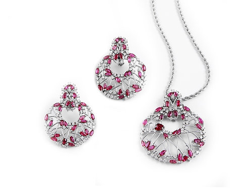 Ruby and Diamond Pendant with Earring