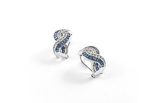 Designer Baguette Cut Sapphire and Diamond Earring