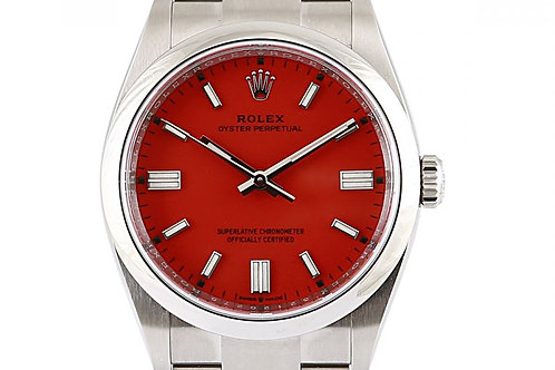 Rolex Oyster Perpetual Datejust 36mm Coral Red Dial Steel