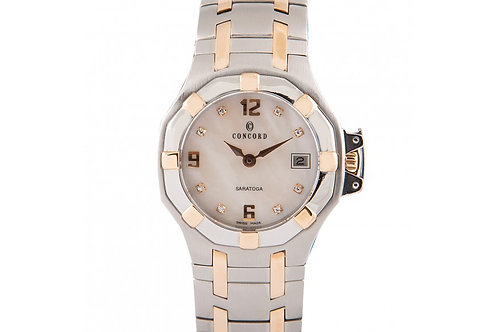 Concord Sartoga Mother of Pearl Diamond Dial 22mm Steel & Rose Gold