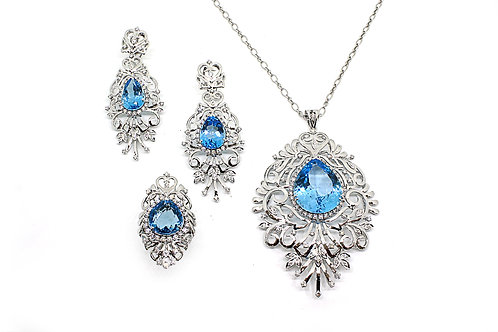 Pear Cut Blue Topaz with Diamonds and White Gold Pendant, Earring and Ring