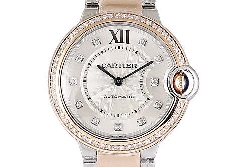 Cartier Ballon Bleu Steel & Rose Gold with Diamonds 36mm