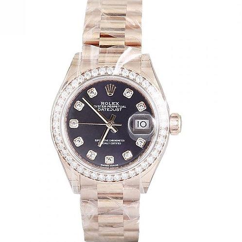 Rolex Datejust Purple Diamond Dial & Aftermarket Diamond Bezel 28mm Rose Gold