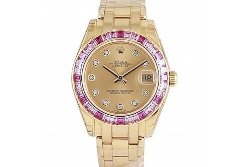 Rolex Datejust Pearlmaster Champagne Dial With Diamonds 34mm Yellow Gold & Sapph